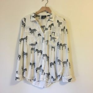 Anthropologie Maeve Zebra Blouse Size 0